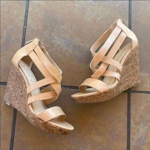 Jessica Simpson Tan Woven Strappy Wedges